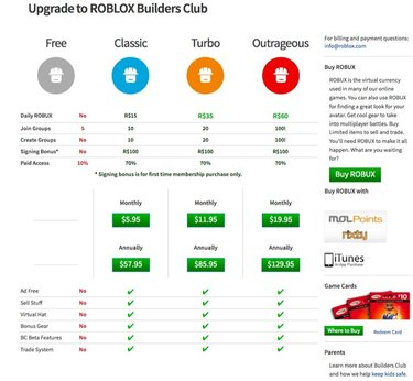 Roblox Builders Club pricing.