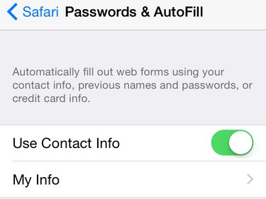 Passwords & AutoFill page