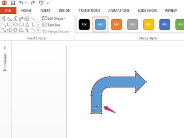 Drag edit points to change the shape of the arrow.