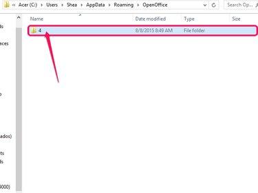 Navigate to the OpenOffice user AppData folder.