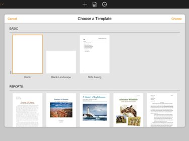The Choose a Template dialog box opens in the center of the Pages workspace