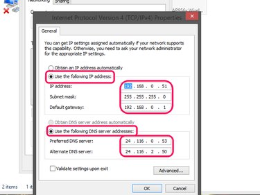 Select the Use the Following IP Address and Use the Following DNS Server Addresses radio buttons and enter the values.