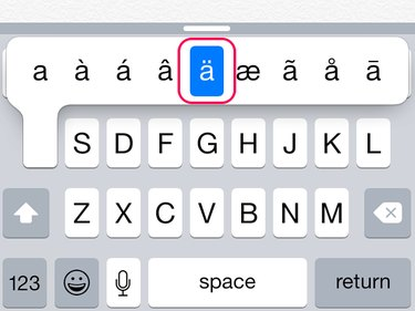 Hold down the A key and select the umlauted letter.