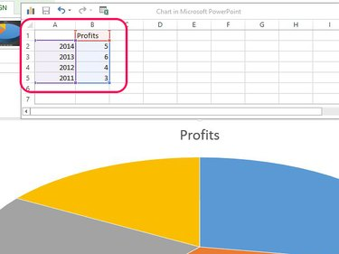 Replace sample data with your data to update the chart.