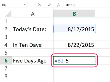 Subtract days from the current date.