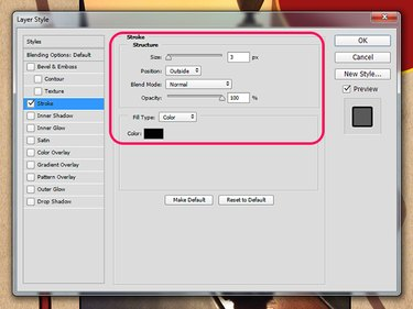 The Layer Style dialog box in Photoshop.