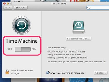 Slide the switch to turn on Time Machine