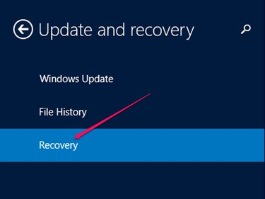 "The ""Update and Recovery"" options."