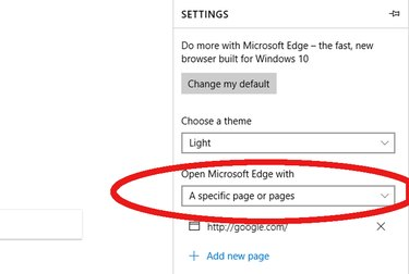 Settings page of Microsoft Edge Internet Browser