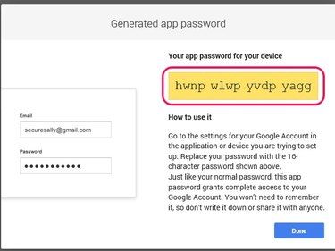 You cannot use the copy function to copy the app password.