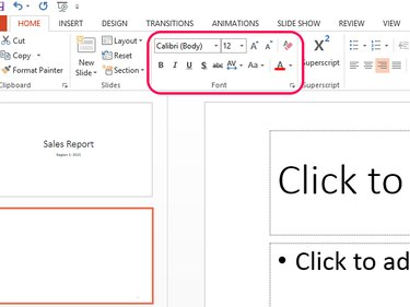Use Font tools to format the slide number.