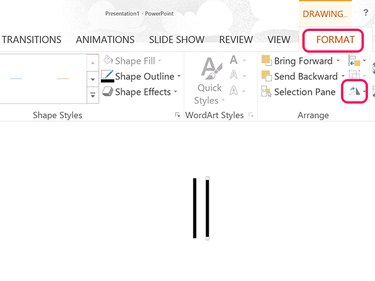 The Rotate option is in the Drawing Tools' Format menu.