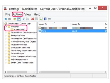 Click the Action Menu and select All Tasks to export an encryption key.
