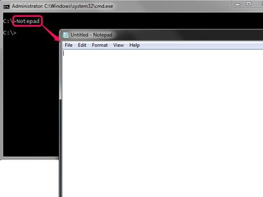 Loading Notepad from command prompt
