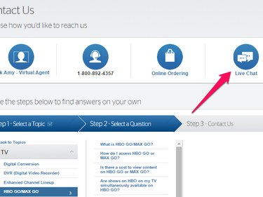 Live Chat icon on Time Warner Cable's Contact Us page.