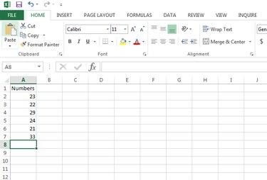 Microsoft Excel data entry