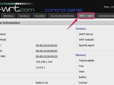 Click NAT/QoS and log in.