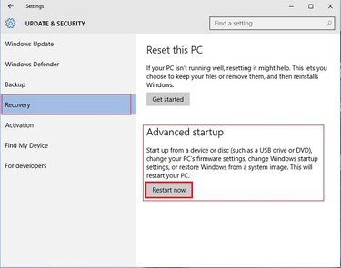Select 'Recovery,' then select 'Restart Now.'