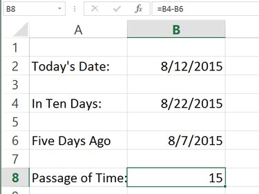 Excel calculates the difference in days.
