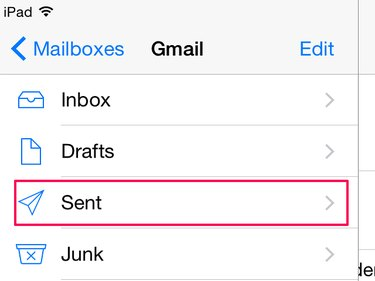 Find the sent folder in iPad email