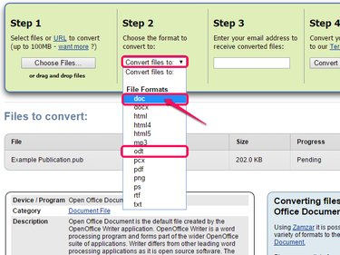 Select DOC or ODT from the drop-down menu.