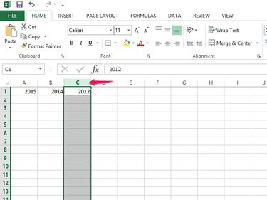 Select the column's letter to highlight the whole column.