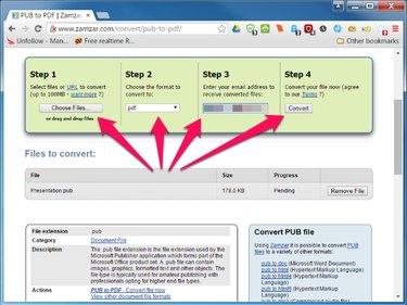 Zamzar.com PUB to PDF conversion page.
