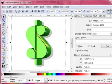 The original jpeg image is loaded and selected in the Inkscape window