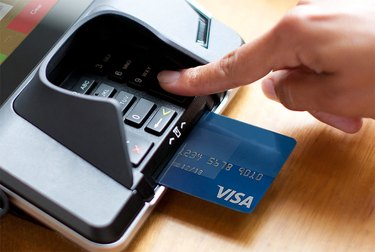 An EMV credit card in a chip reader