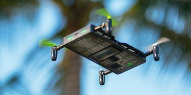 Photo of The Pocket Drone flying under a palm tree.