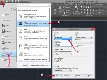 Click the AutoCAD icon then click Drawing Utilities and lastly click Units. Select Architectural as the Type then click OK.
