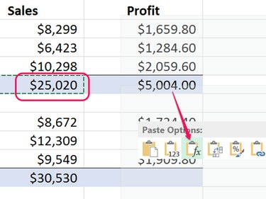 Select Fx to paste only a formula.