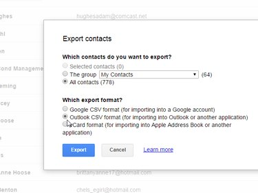 Gmail's Export contacts dialog