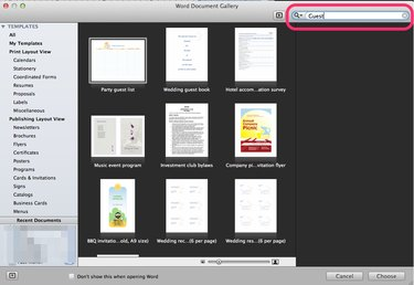 Search in Word 2011 on a Mac