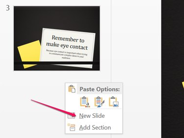 Insert a new slide at the end of your presentation.