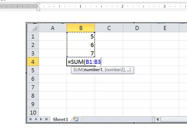 Spreadsheet in a Word document