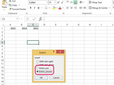 Select Entire Row or Column to add a row or column to the worksheet.