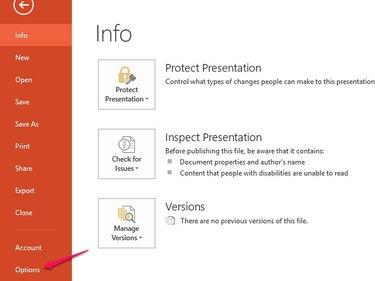 Open the Options menu to add commands to the PowerPoint ribbon.