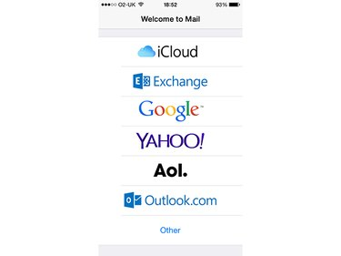 The opening screen for the Mail app if you have no accounts set up.