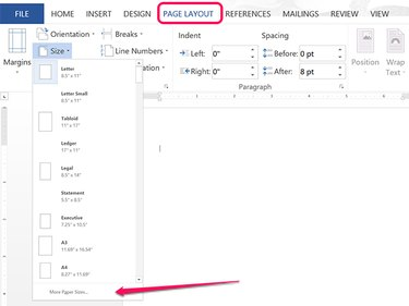 Open the Page Setup menu.