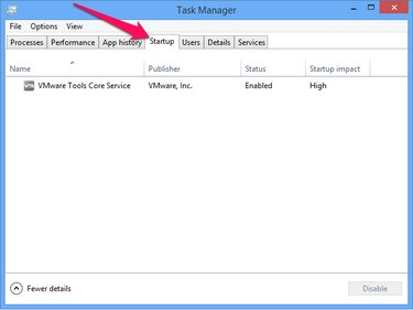 The Task Manager Startup tab.