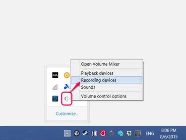 Click the arrow on the taskbar to show hidden icons.