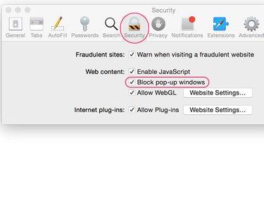 Blocking pop-ups in Safari Preferences