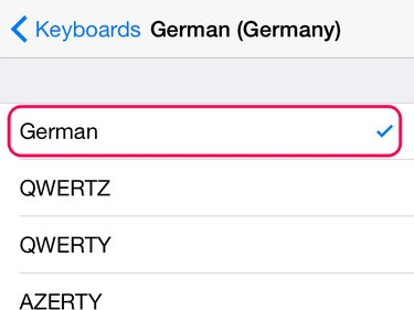 Check that the German option is ticked.