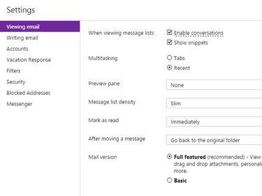 Viewing email settings