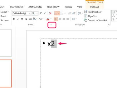 Open the Font menu to format an exponent in superscript.