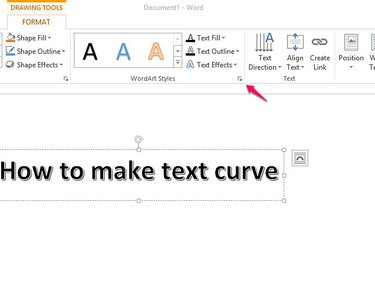 Use the arrow in WordArt Styles to open the formatting menu.