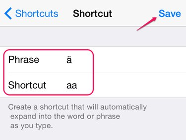 Add the umlaut and a shortcut for it.