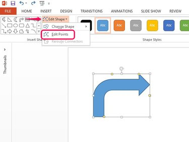 Enable Edit Points to change the arrow's shape.