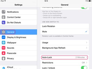 Use Auto-Lock to set a sleep timer on an iPad.